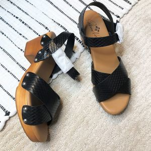 Patricia Nash - NWB Black Leather Sandals Gigi